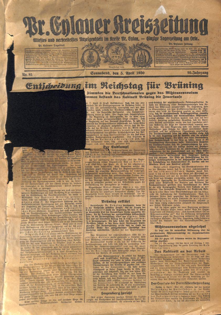 Preußisch Eylauer Kreiszeitung  - April 1930