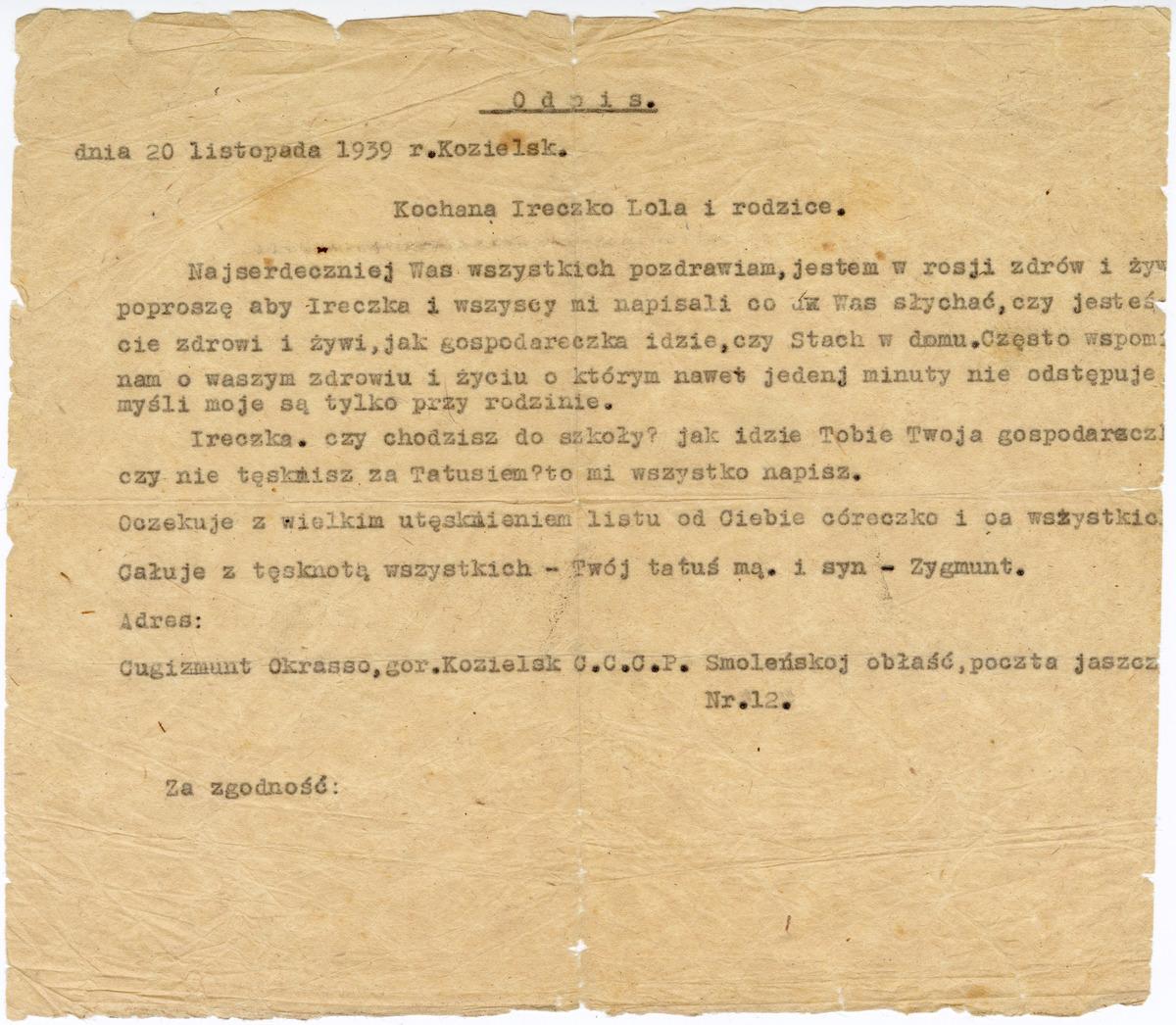 List z Kozielska