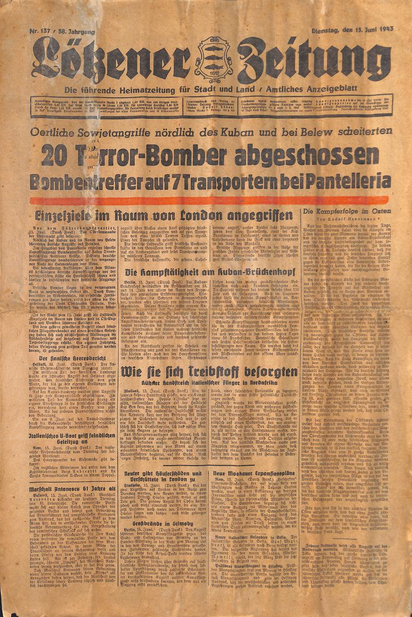 Lötzener Zeitung  - Juni 1943