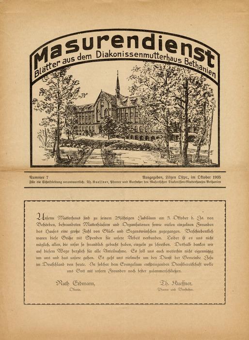 Masurendienst - Oktober 1935