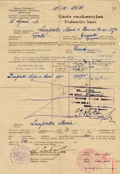 Karta ewakuacyjna Marii Lempieckiej