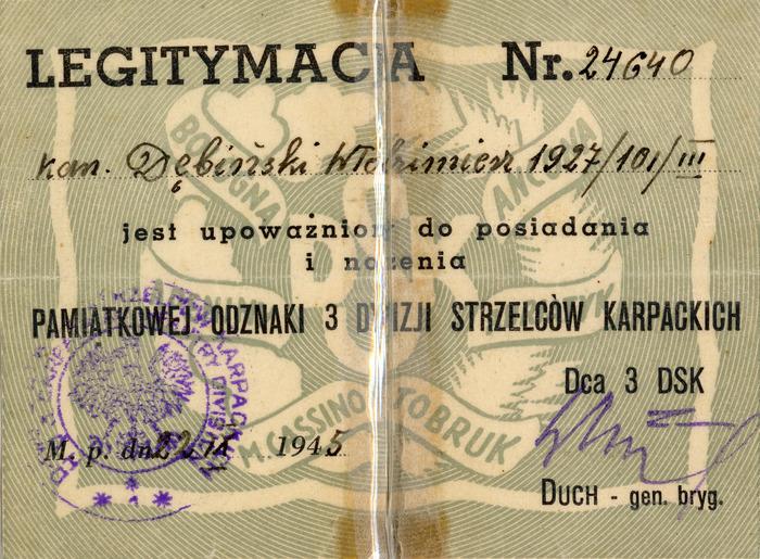 Legitymacja żołnierza 3. Dywizji Strzelców Karpackich