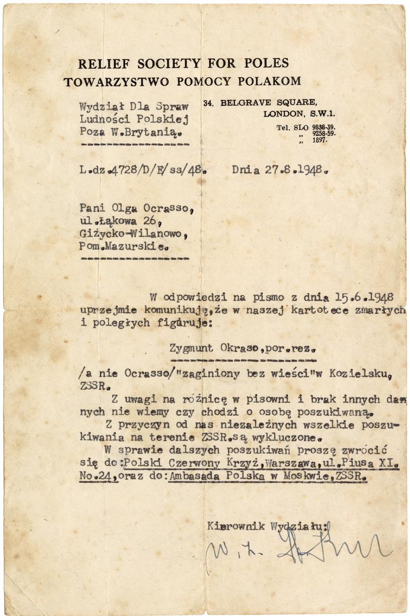 List z Towarzystwa Pomocy Polakom