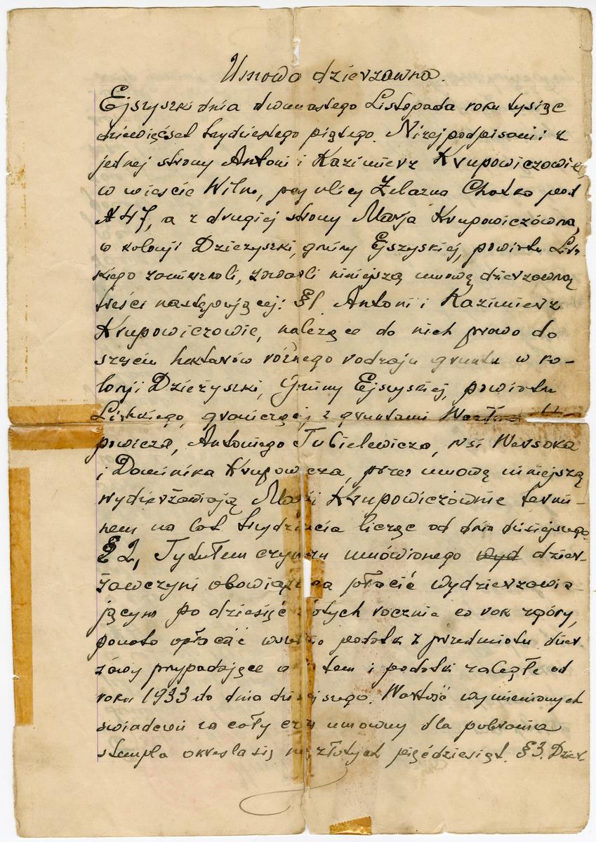 Umowa dzierżawy ziemii z 1935 r.