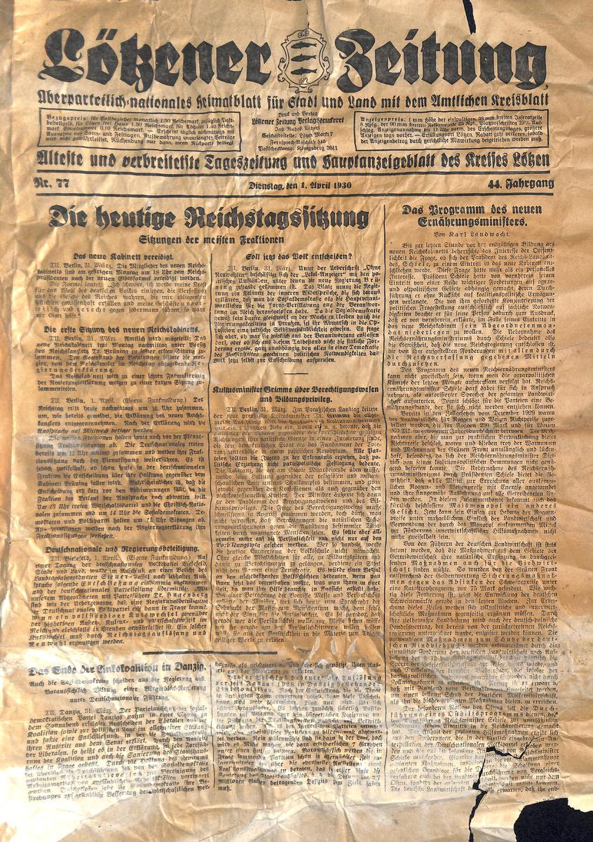 Lötzener Zeitung - April 1930