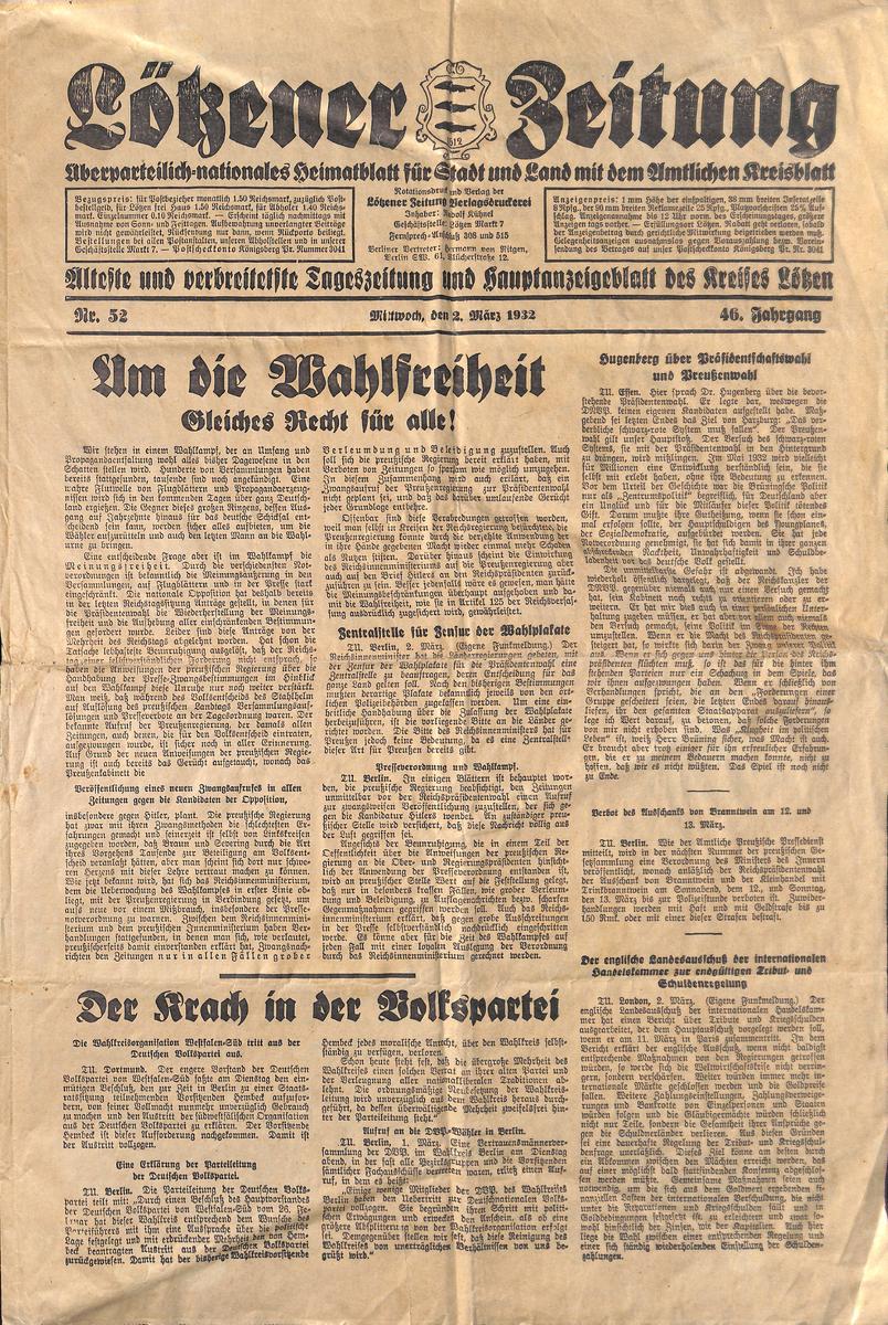 Lötzener Zeitung  - Marz 1932