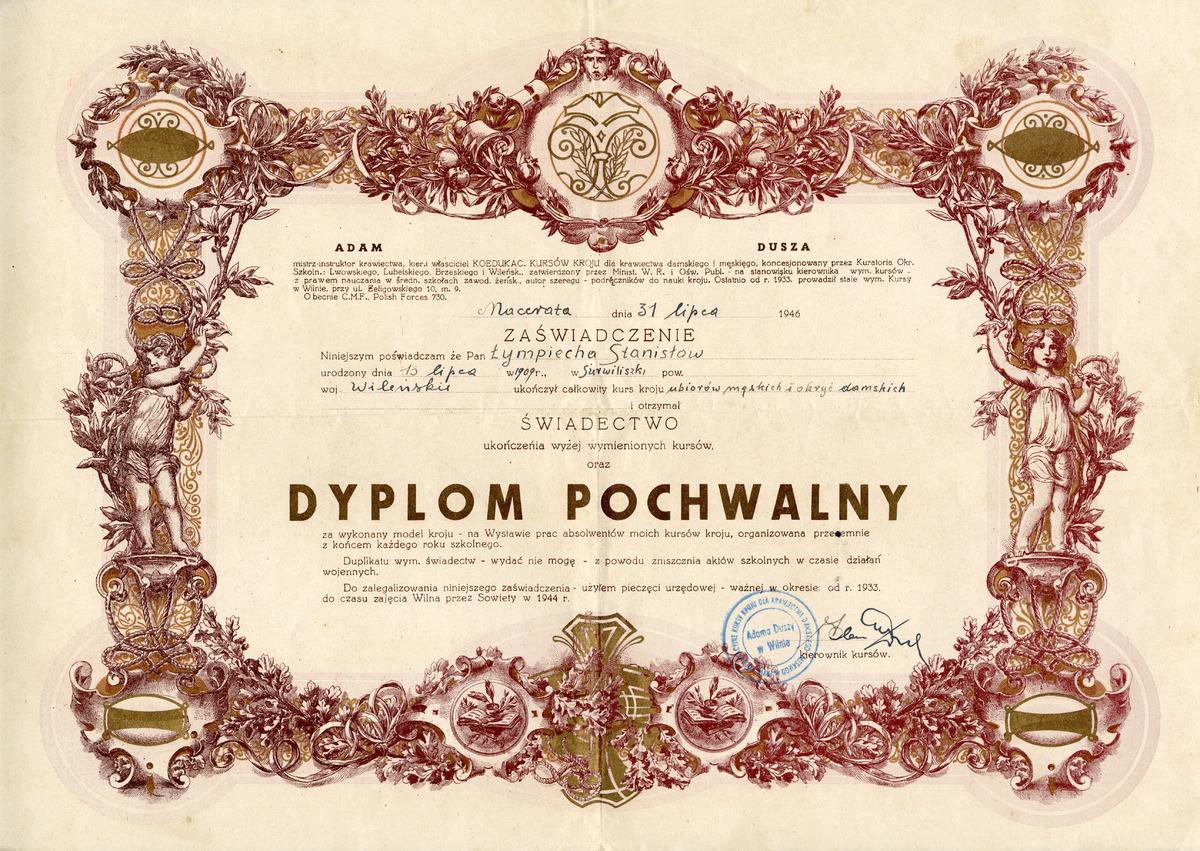 Dyplom pochwalny