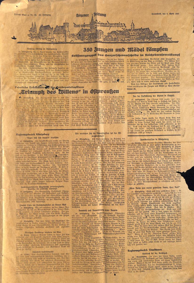 Lötzener Zeitung - Aus unserer Heimatprowinz - April 1935