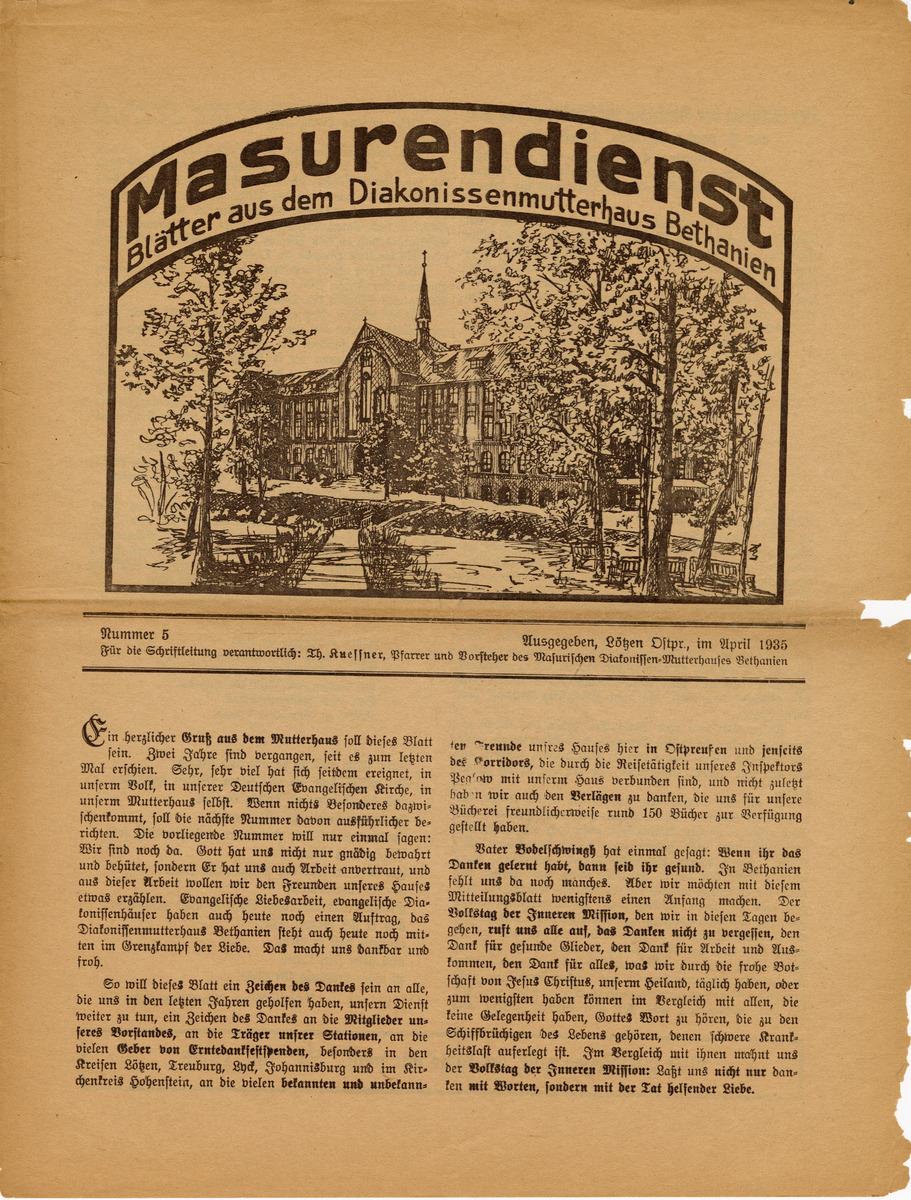 Masurendienst - April 1935